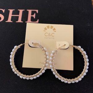 """Jewelry - NEW Pearl 1.5"""" earrings"""